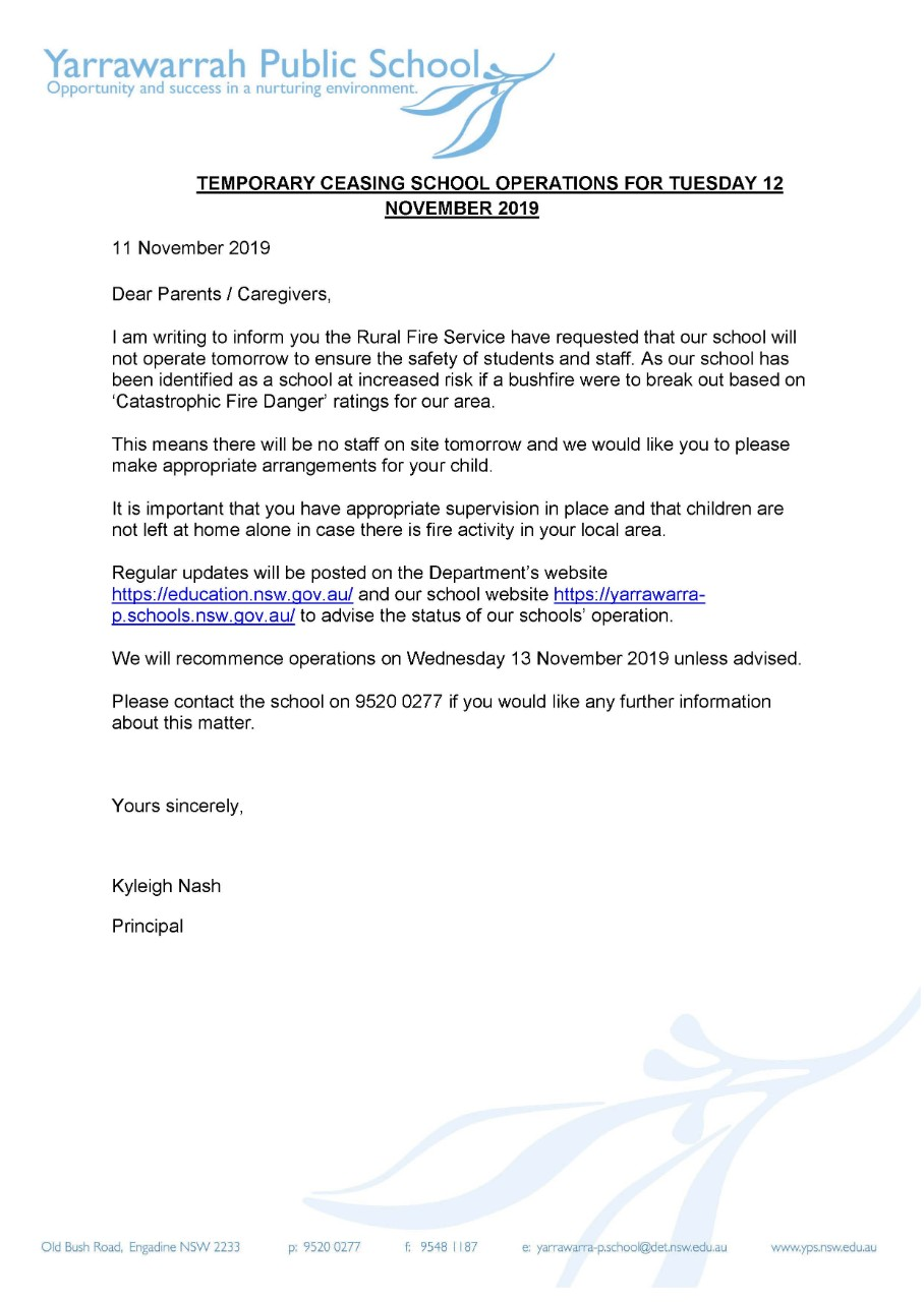 Temporary closure 12th November
